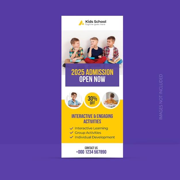 Plantilla de banner enrollable de admisión de regreso a la escuela PSD Premium