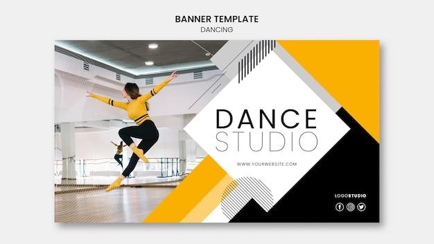 Plantilla de banner con estudio de baile PSD gratuito