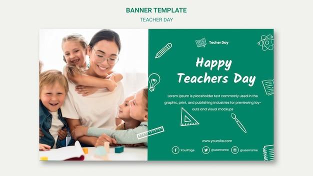 Plantilla de banner de feliz día del maestro PSD gratuito