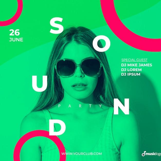 Plantilla de banner para festival de música PSD gratuito