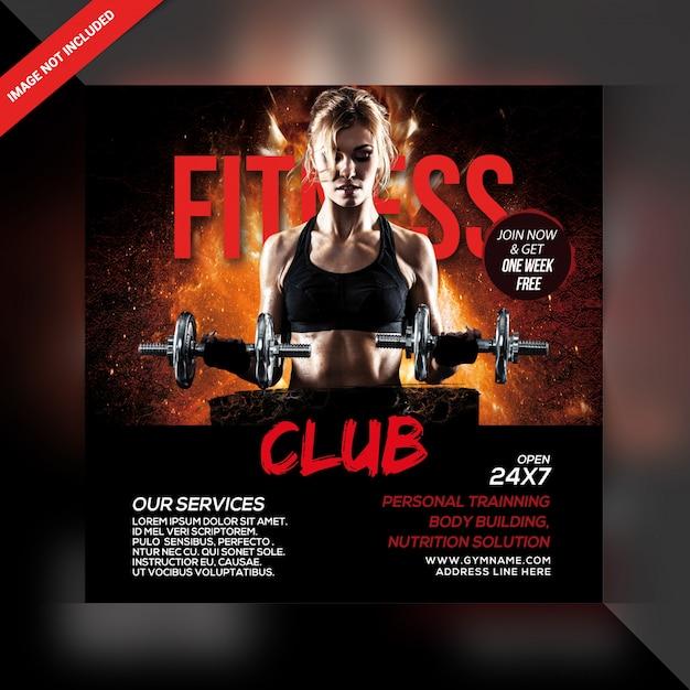 Plantilla de banner de fitness gym PSD Premium
