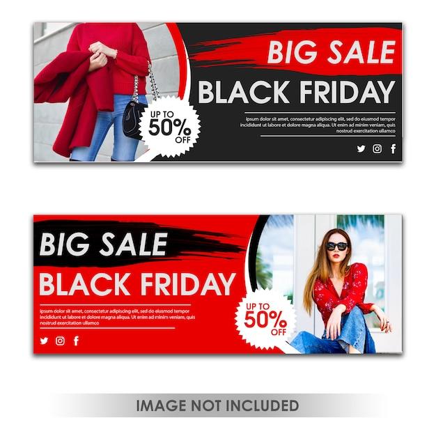 Plantilla de banner de gran venta del viernes negro PSD Premium