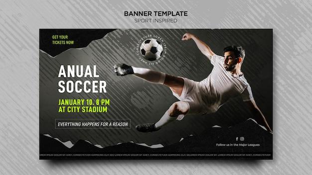 Plantilla de banner horizontal para club de fútbol PSD gratuito