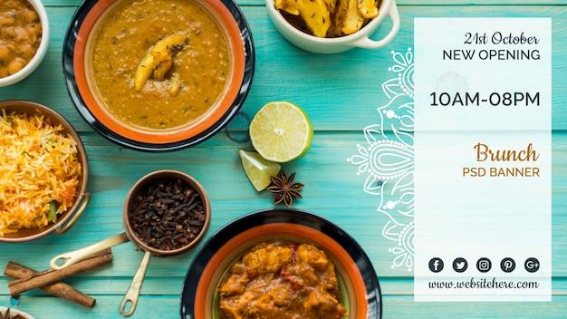 Plantilla de banner horizontal de comida hindú PSD gratuito