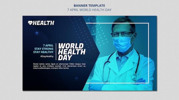 Plantilla de banner horizontal del día mundial de la salud con foto PSD gratuito