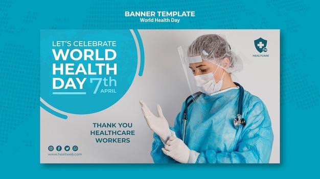 Plantilla de banner horizontal del día mundial de la salud PSD gratuito