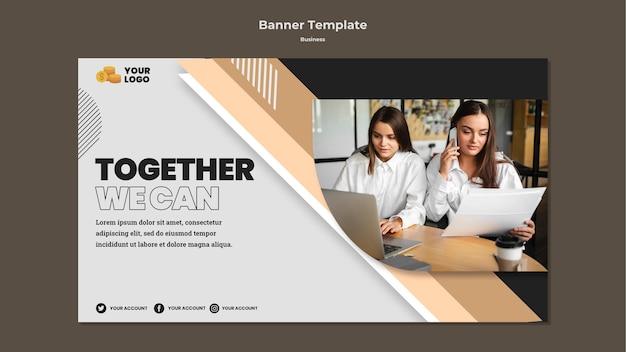Plantilla de banner horizontal empresarial con foto PSD gratuito