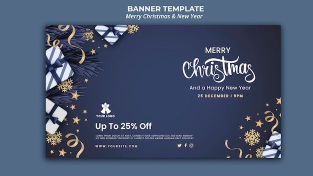 Plantilla de banner horizontal para navidad y año nuevo. PSD gratuito