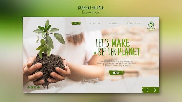 Plantilla de banner con manos sosteniendo la planta en el suelo PSD gratuito