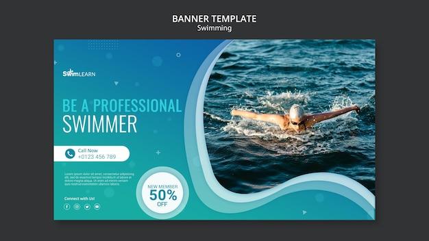 Plantilla de banner de natación con foto PSD gratuito