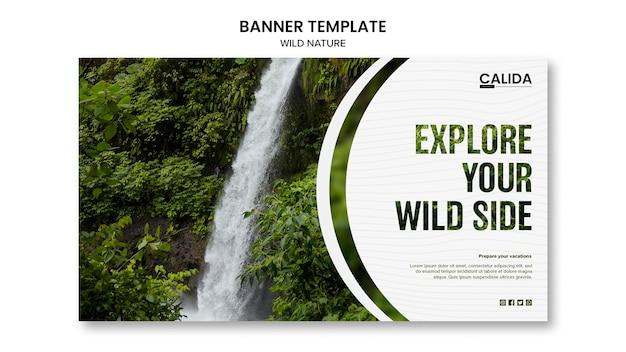 Plantilla de banner de naturaleza salvaje con imagen PSD gratuito