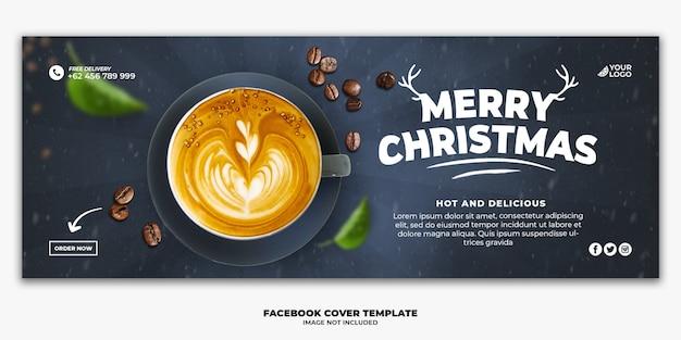 Plantilla de banner de portada de facebook de navidad para menú de comida de restaurante beber café PSD Premium