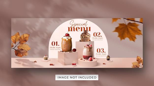 Plantilla de banner de portada de facebook de redes sociales de promoción de menú de bebidas especiales PSD Premium
