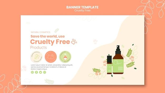 Plantilla de banner de productos libres de crueldad PSD gratuito