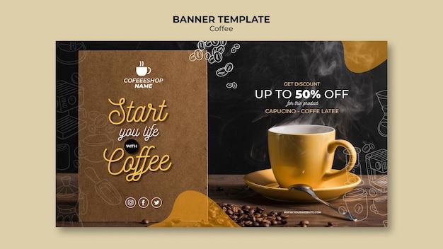 Plantilla de banner de promoción de café PSD gratuito