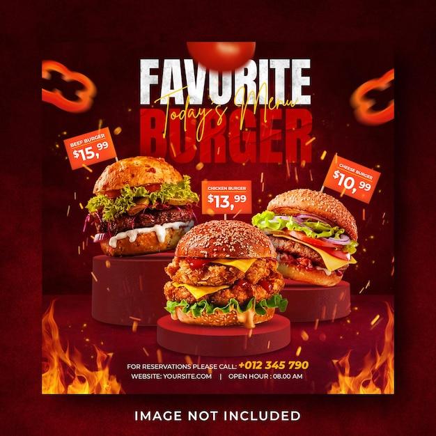Plantilla de banner de publicación de instagram de redes sociales de promoción de menú de comida de hamburguesa PSD Premium