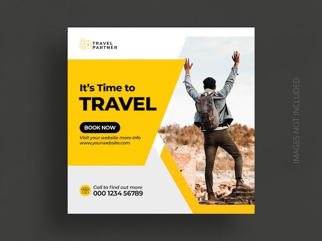 Plantilla de banner de publicación de redes sociales de viaje o publicación de instagram de vacaciones de vacaciones de gira PSD Premium