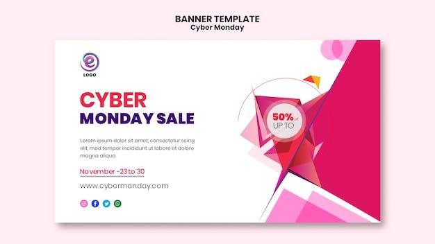 Plantilla de banner realista de ciber lunes PSD gratuito
