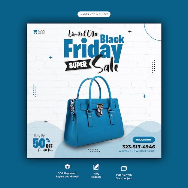 Plantilla de banner de redes sociales de super venta de viernes negro PSD gratuito
