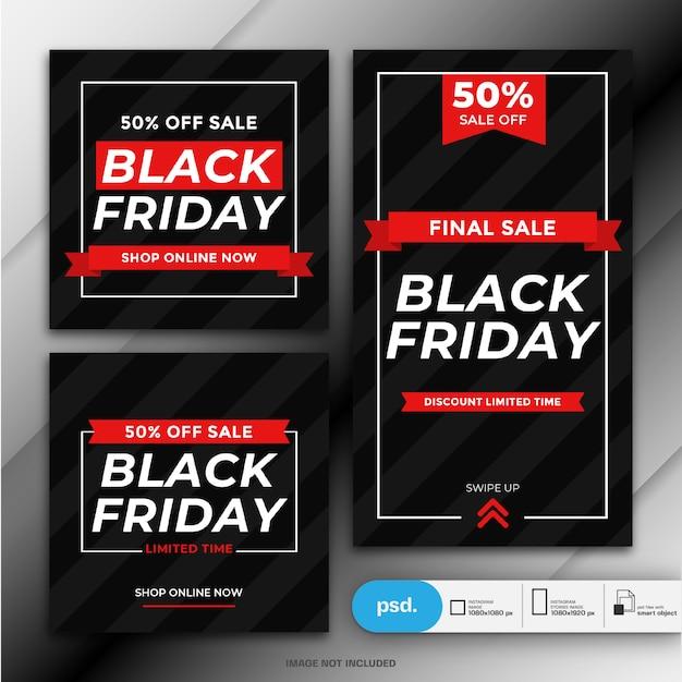Plantilla de banner de redes sociales de venta de viernes negro PSD Premium