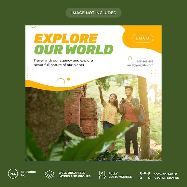 Plantilla de banner de redes sociales de viaje PSD Premium