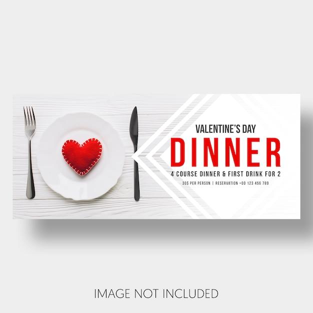 Plantilla de banner restaurante día de san valentín. PSD gratuito