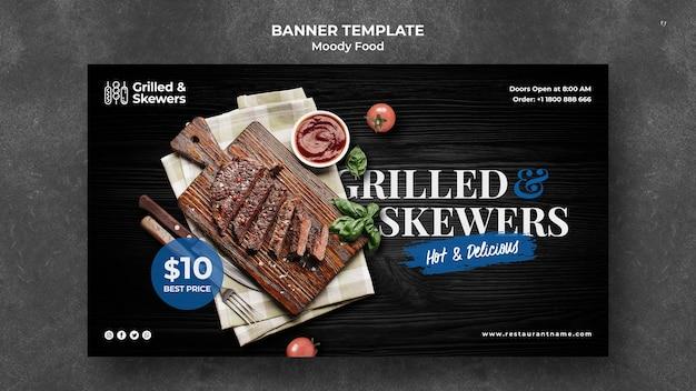 Plantilla de banner de restaurante a la parrilla y brochetas PSD gratuito