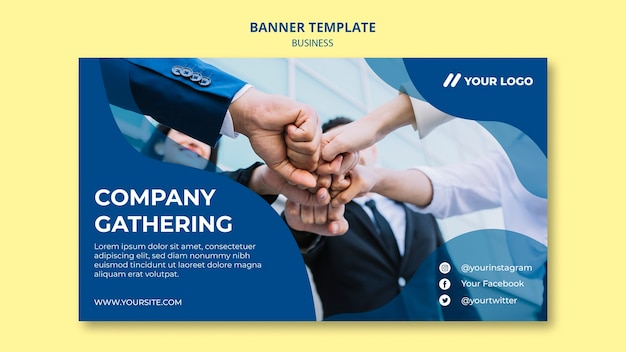 Plantilla de banner para reunión de empresas PSD gratuito