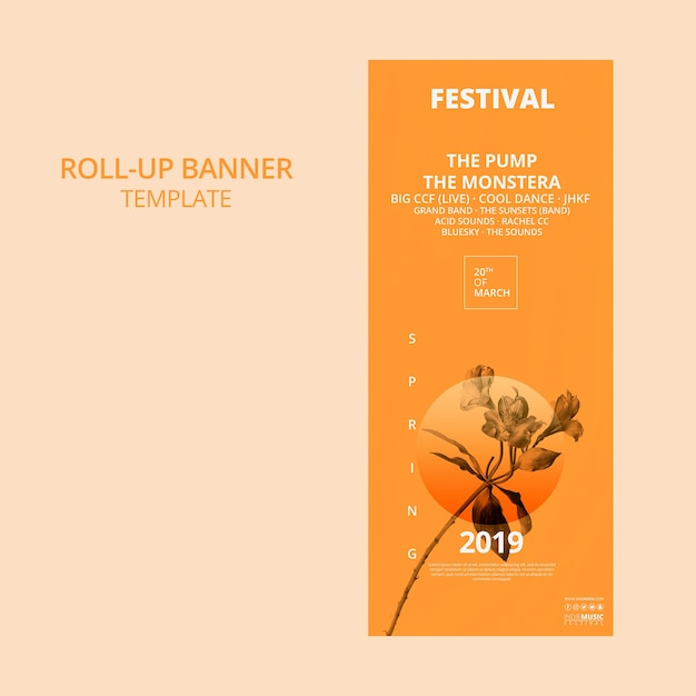 Plantilla de banner roll up con concepto de festival de primavera PSD gratuito