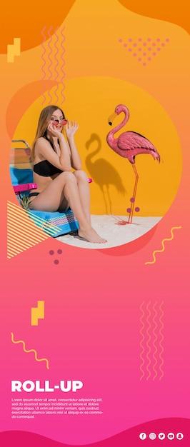 Plantilla de banner roll up en estilo memphis para verano PSD gratuito