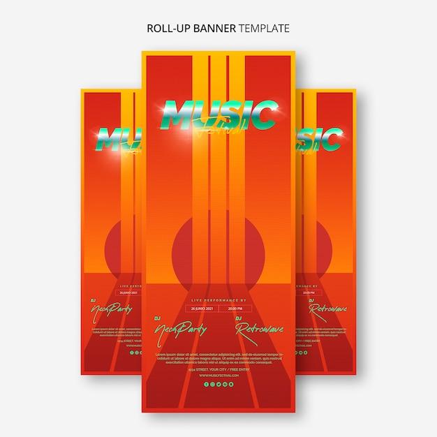Plantilla de banner roll up para festival de música de los 80 PSD gratuito