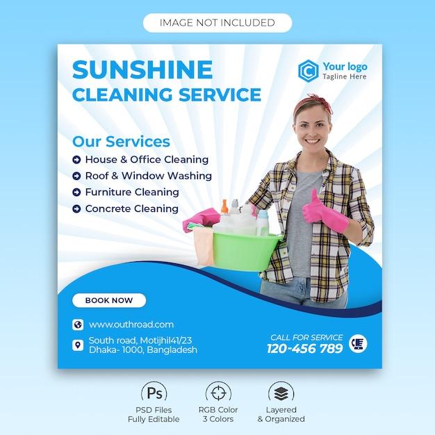 Plantilla de banner de servicio de limpieza PSD Premium