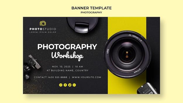 Plantilla de banner de taller de fotografía PSD gratuito