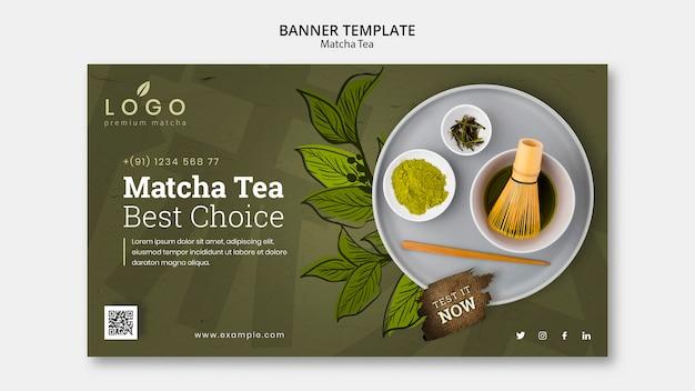 Plantilla de banner de té matcha con foto PSD gratuito