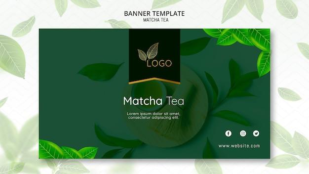 Plantilla de banner de té matcha con hojas PSD gratuito