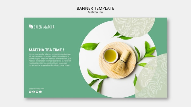 Plantilla de banner de té matcha saludable PSD gratuito