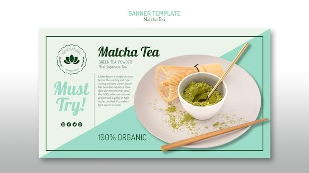 Plantilla de banner de té matcha PSD gratuito