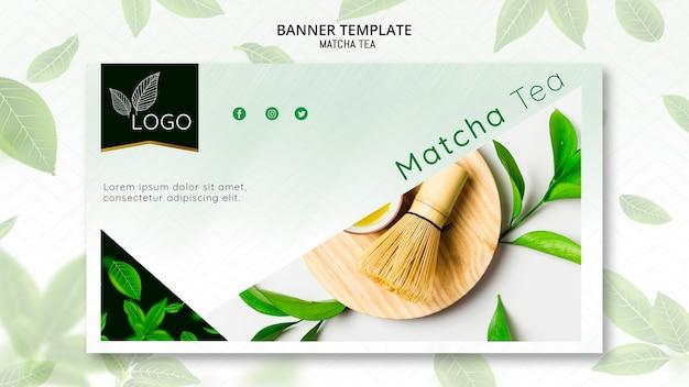 Plantilla de banner con té matcha PSD gratuito