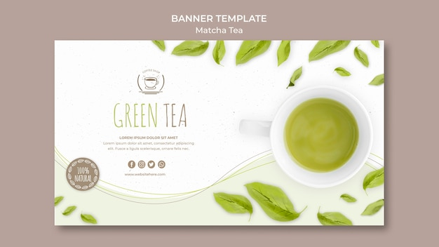 Plantilla de banner de té verde PSD gratuito