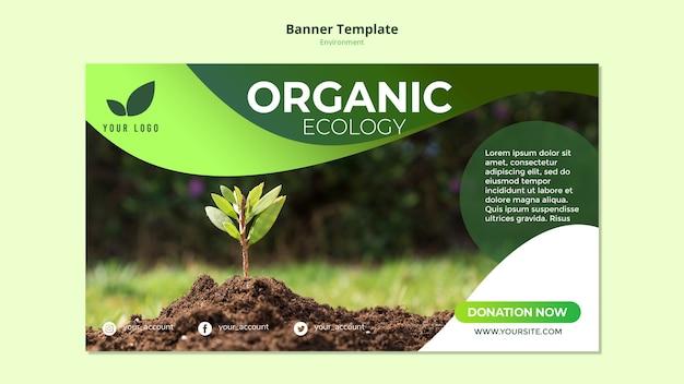 Plantilla de banner con tema de ecología orgánica PSD gratuito