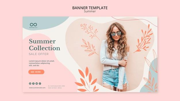 Plantilla de banner de venta de colección de verano PSD gratuito