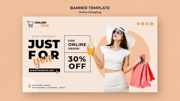 Plantilla de banner para venta de moda en línea PSD gratuito
