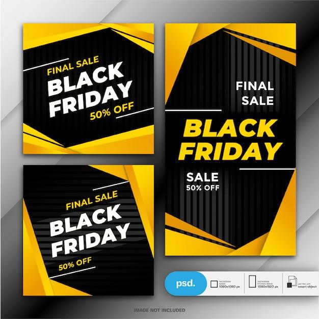 Plantilla de banner de venta de viernes negro PSD Premium