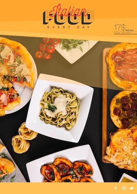 Plantilla de banner web con concepto de comida italiana PSD gratuito
