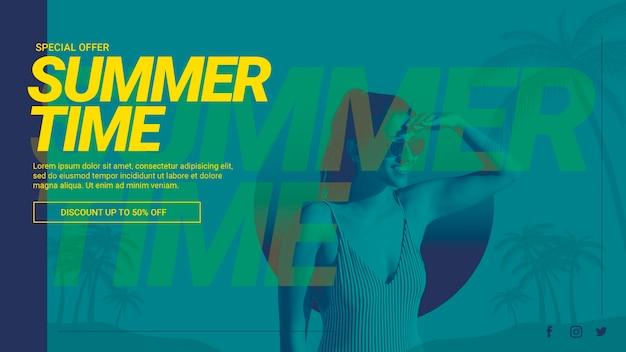 Plantilla de banner web con concepto de verano PSD gratuito