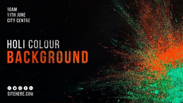 Plantilla de banner web para el holi festival PSD gratuito