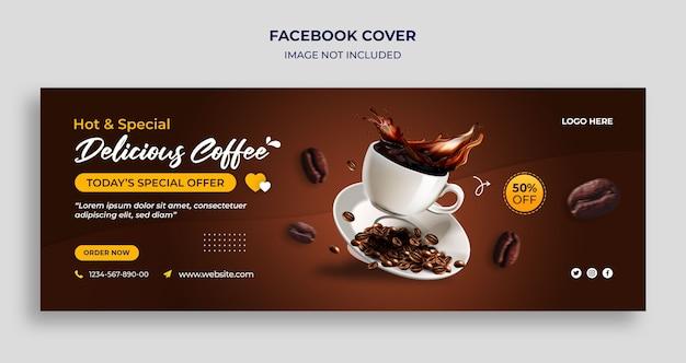 Plantilla de banner web y portada de la línea de tiempo de facebook del día internacional del café PSD Premium