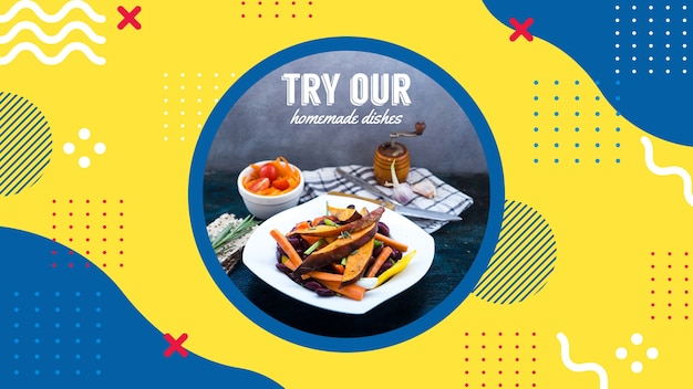 Plantilla de banner web para restaurante en estilo memphis PSD gratuito