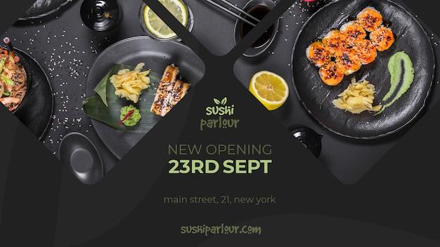 Plantilla de banner web para restaurante japones PSD gratuito
