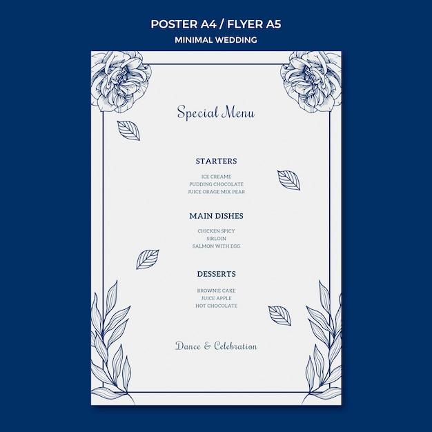 Plantilla de boda para póster PSD gratuito
